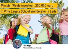 Minister Weyts investeert 200.000 euro in Vrije Lagere School Wonderster in Lede